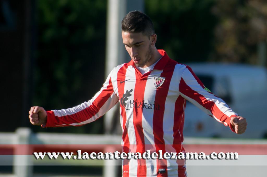 Victor Monteiro celebra su último gol como jugador de Lezama | Foto: Unai Zabaleta