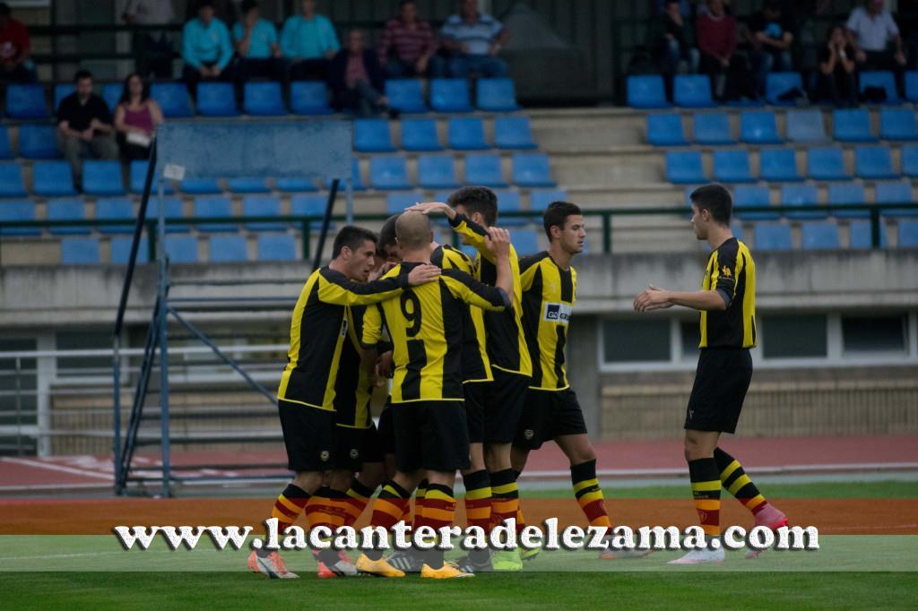 El Basconia celebra un gol durante esta temporada | Foto: Unai Zabaleta