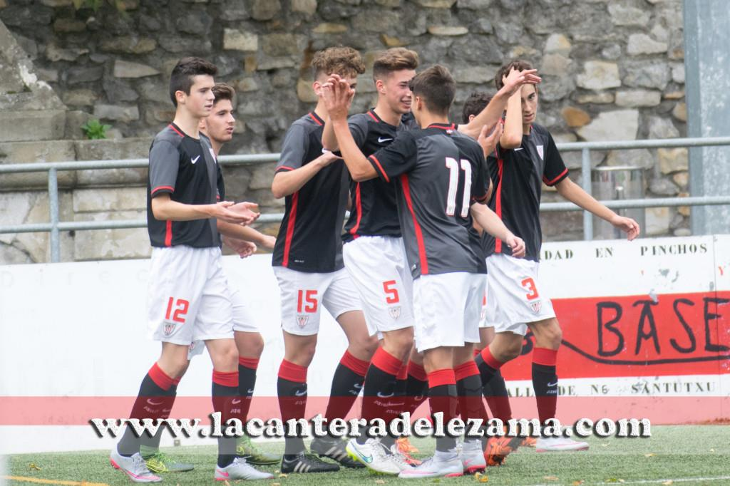 El Juvenil Nacional celebra un gol en Maiona | Foto: Unai Zabaleta